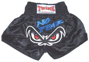 Short boxe Thai - TWINS -  TTBL017 No fear black