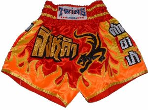 Short boxe Thai - TWINS -  TTBL033 Fire dragon red